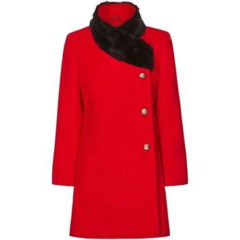 Kleidung Damen Mäntel De La Creme Damen Winter Asymetric Pelzkragen Mantel Red
