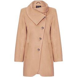 Kleidung Damen Mäntel De La Creme Asymmetrischer Wintermantel für Damen Beige