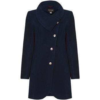 Kleidung Damen Mäntel De La Creme Asymmetrischer Wintermantel für Damen Blue