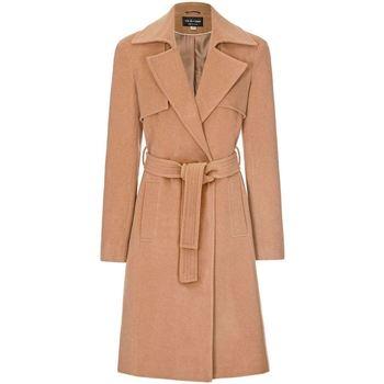 Kleidung Damen Trenchcoats Anastasia Mantel wickeln en Cachemire de Laine Winter pour Femme Beige