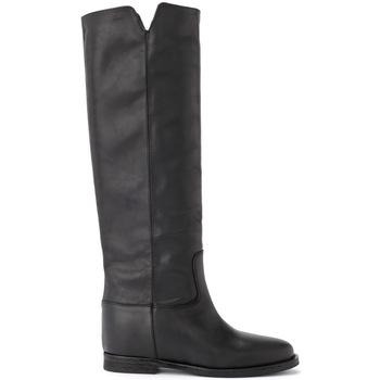 Schuhe Damen Klassische Stiefel Via Roma 15 Stiefel in Leder Schwarz Schwarz