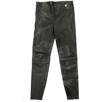 Kleidung Damen Fließende Hosen/ Haremshosen Rich & Royal Pantalon Noir Cuir 13Q997 Schwarz
