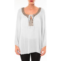 Kleidung Damen Tuniken Tcqb Tunique TDI paillettes Blanc Weiss