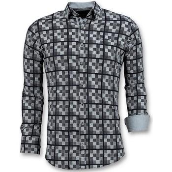 Kleidung Herren Langärmelige Hemden Tony Backer Italienische Bluse Mit Schachmotiv Grau