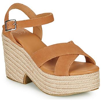 Schuhe Damen Sandalen / Sandaletten Superdry HIGH ESPADRILLE SANDAL Cognac