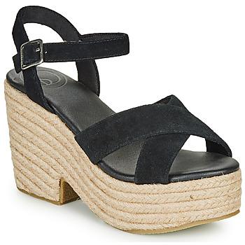Schuhe Damen Sandalen / Sandaletten Superdry HIGH ESPADRILLE SANDAL Schwarz
