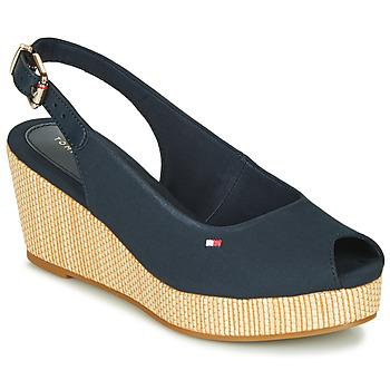 Schuhe Damen Sandalen / Sandaletten Tommy Hilfiger ICONIC ELBA SLING BACK WEDGE Blau