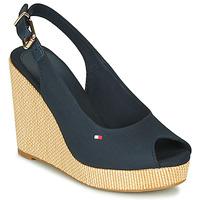 Schuhe Damen Sandalen / Sandaletten Tommy Hilfiger ICONIC ELENA SLING BACK WEDGE Blau