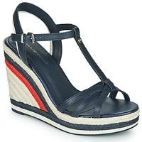 Schuhe Damen Sandalen / Sandaletten Tommy Hilfiger TOMMY STRAPPY HIGH WEDGE Blau