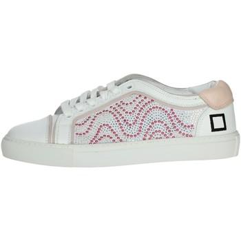 Schuhe Damen Sneaker Low Date E20-6 Weiss/Rosa