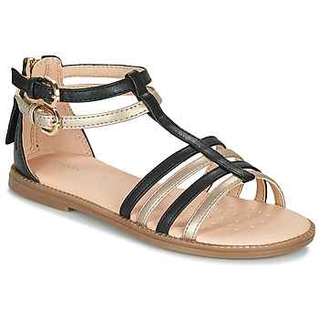 Schuhe Mädchen Sandalen / Sandaletten Geox J SANDAL KARLY GIRL Schwarz / Gold