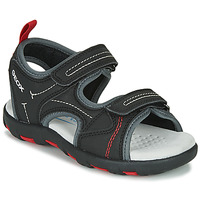 Schuhe Jungen Sportliche Sandalen Geox JR SANDAL PIANETA Schwarz / Rot