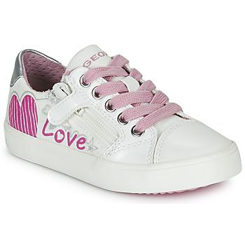 Schuhe Mädchen Sneaker Low Geox J GISLI GIRL Weiss / Rose / Silbern