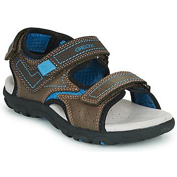 Schuhe Jungen Sportliche Sandalen Geox JR SANDAL STRADA Braun / Blau