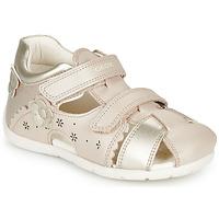 Schuhe Mädchen Sandalen / Sandaletten Geox B KAYTAN Gold / Beige