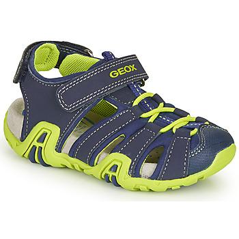 Schuhe Jungen Sportliche Sandalen Geox B SANDAL KRAZE Marine / Grün
