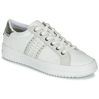 Schuhe Damen Sneaker Low Geox D PONTOISE Weiss / Silbern
