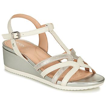 Schuhe Damen Sandalen / Sandaletten Geox D ISCHIA Weiss / Silbern