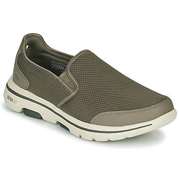 Schuhe Herren Slip on Skechers GO WALK 5 Kaki