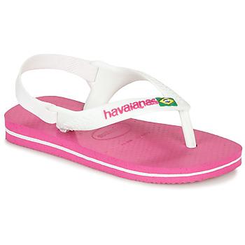 Schuhe Mädchen Zehensandalen Havaianas BABY BRASIL LOGO II Pink / Weiss