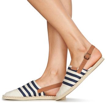 Havaianas ORIGINE MULE STRAP Beige / Navy - Schuhe Leinen-Pantoletten mit gefloch Damen 2599