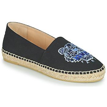 Schuhe Damen Leinen-Pantoletten mit gefloch Kenzo ESPADRILLE CLASSIC TIGER Schwarz
