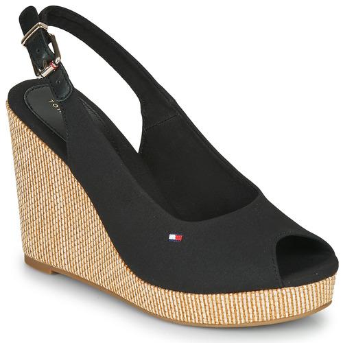 Schuhe Damen Sandalen / Sandaletten Tommy Hilfiger ICONIC ELENA SLING BACK WEDGE Schwarz
