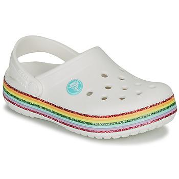 Schuhe Mädchen Pantoletten / Clogs Crocs CROCBAND RAINBOW GLITTER CLG K Weiss
