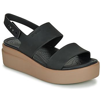 Schuhe Damen Sandalen / Sandaletten Crocs CROCS BROOKLYN LOW WEDGE W Schwarz / Camel