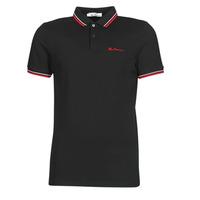 Kleidung Herren Polohemden Ben Sherman SIGNATURE POLO Schwarz / Rot / Weiss