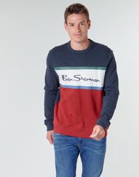 Kleidung Herren Sweatshirts Ben Sherman COLOUR BLOCKED LOGO SWEAT Marine / Rot