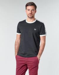 Kleidung Herren T-Shirts Fred Perry TAPED RINGER T-SHIRT Schwarz