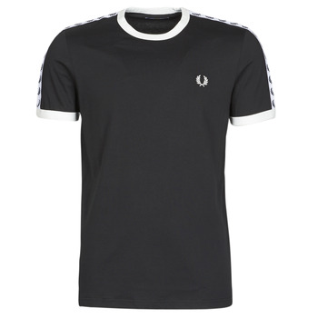 Kleidung Herren T-Shirts Fred Perry TAPED RINGER T-SHIRT Schwarz
