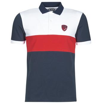 Kleidung Herren Polohemden Emporio Armani EA7 SEA WORLD ST TROPEZ Marine / Weiss / Rot