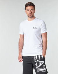 Kleidung Herren T-Shirts Emporio Armani EA7 TRAIN LOGO SERIES M TAPE TEE ST Weiss