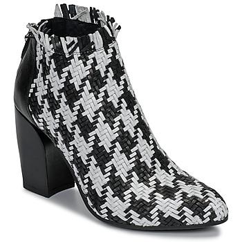Schuhe Damen Ankle Boots Mimmu JESTINE Schwarz / Weiss