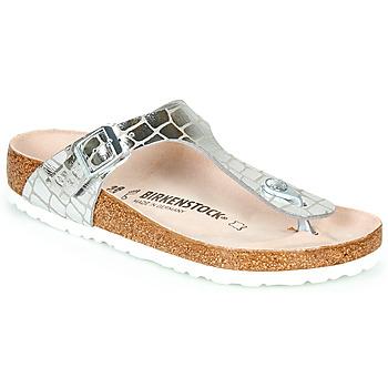 Schuhe Damen Zehensandalen Birkenstock GIZEH Silber