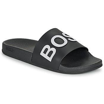 Schuhe Herren Pantoletten BOSS BAY SLID RBLG Schwarz / Weiss