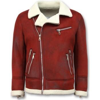Kleidung Herren Lederjacken / Kunstlederjacken Tony Backer Shearling Jacke Lammfell Lammy Coat Rot