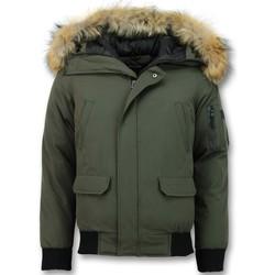 Kleidung Herren Daunenjacken Enos Kurze Winterjacke Echtfell Jacke Grün