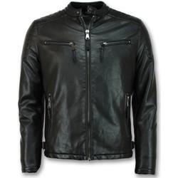 Kleidung Herren Jacken Enos Motorradjacke Kunstleder Bikerjacke Schwarz