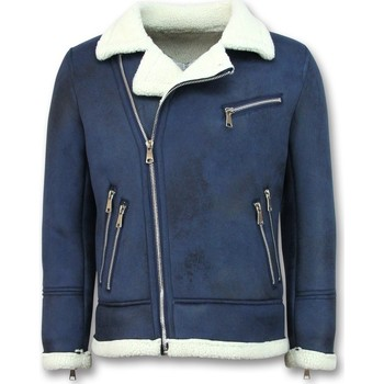 Kleidung Herren Jacken Tony Backer Shearling Jacke Lammfell Jacke Mit Kunstfell Blau