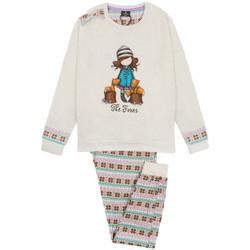 Kleidung Mädchen Pyjamas/ Nachthemden Admas Pyjama langärmelige Hose Felpa The Foxes elfenbein Santoro Gelb
