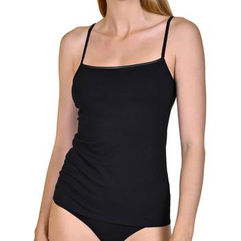 Unterwäsche Damen Unterhemden Lisca Emma  Tanktop mit dünnem Riemen Perlschwarz
