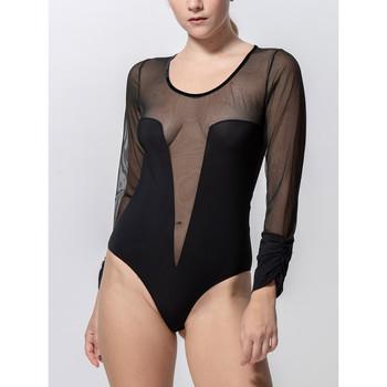 Unterwäsche Damen Bodys Luna Grace-Körperanzug mit langen Ärmeln in schwarzem Perlschwarz
