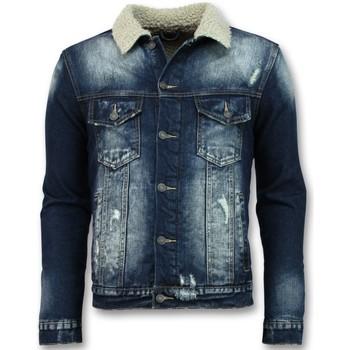 Kleidung Herren Jeansjacken Warren Webber Jeans Jacke Mit Fell Stehkragen Blau