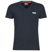 Kleidung Herren T-Shirts Superdry ORANGE LABEL VNTGE EMB VEE TEE Weiss / silber / Navy