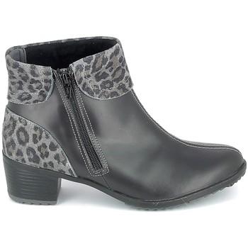 Schuhe Damen Low Boots Boissy Boots Noir Leopard Schwarz