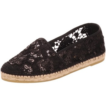 Schuhe Damen Leinen-Pantoletten mit gefloch Vidorreta Slipper 00700-RLPT-negro schwarz