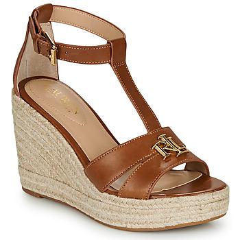 Schuhe Damen Sandalen / Sandaletten Lauren Ralph Lauren HALE ESPADRILLES CASUAL Cognac